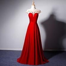 Elegancka Czerwone Przezroczyste Sukienki Wieczorowe 2019