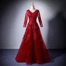 Stylowe / Modne Burgund Sukienki Wieczorowe 2019