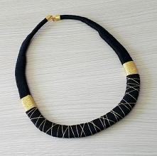 złoto-czarna kolia handmade