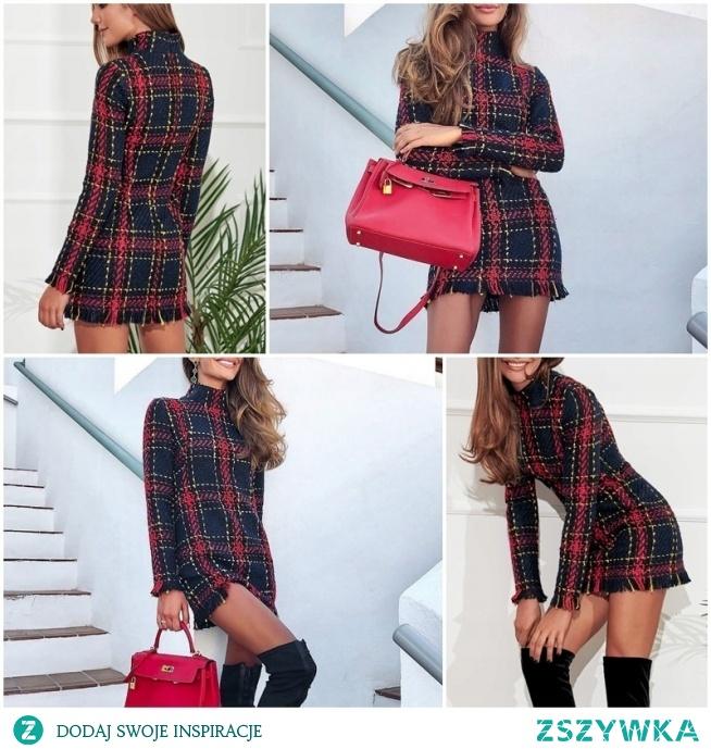 Seksowna żakardowa sukienka damska w trzech kolorach do wyboru. Idealna do pracy lub randkę! Kliknij w zdjęcie i zobacz gdzie kupić.