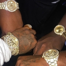 bling, gold, diamond, watch, rich, black, skin, tatto