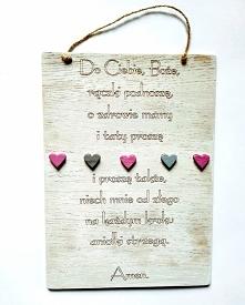Drewniana deseczka z modlitwą do powieszenia na ścianie