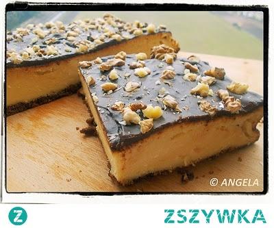 Sernik z polewą czekoladową i orzechami - Chocolate And Nut Cheesecake - Cheescake al cioccolato e noci