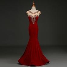 Eleganckie Burgund Sukienki Wieczorowe 2019 Syrena / Rozkloszowane Zamszowe V-Szyja Rhinestone Z Koronki Kwiat Rękawy z Kapturkiem Długie Sukienki Wizytowe