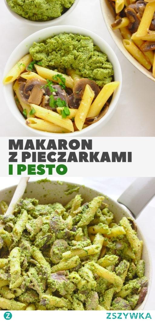 Wegetariański makaron penne z pieczarkami i orzechowym pesto. Szybki obiad z podstawowych składników.