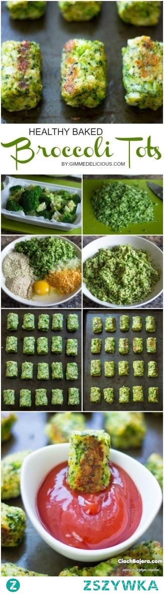 Sposób przygotowania 2 szklanki surowych brokuł parzymy przez 1 min we wrzącej wodzie. Ostudzamy je w zimnej wodzie. ostudzone brokuły drobno siekamy i mieszamy z jajkiem, 1/4 szklanki cebuli pokrojonej w kostkę, 1/3 szklanki posiekanego sera cheddar, 2/3 szklanki bułki tartej, 1 łyżeczką soli i jedną łyżeczką pieprzu, 2 łyżki natki pietruszki. Gotową masę formułujemy na niewielkie walce i pieczemy na złoty kolor w piekarniku nagrzanym do 200 stopni.