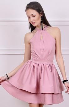 Rozkloszowana sukienka różo...