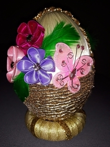 koszyczek z kwiatami kanzashi