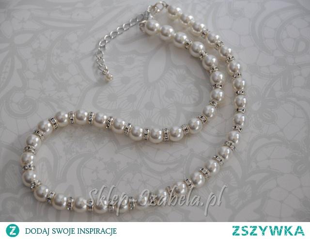 kolia damska biżuteria z perełkami