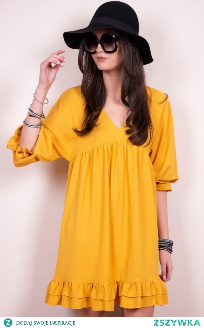 Luźna sukienka z falbanami musztardowa 0238 Roco