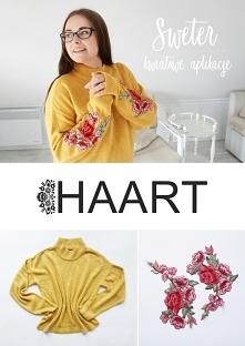 sweter z kwiatami DIY