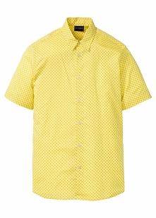 Koszula z krótkim rękawem w kropki bonprix żółty w kropki