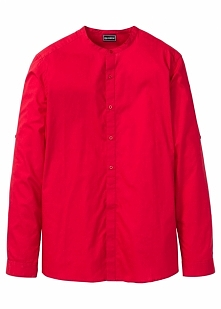 Koszula z długim rękawem i stójką Slim Fit bonprix czerwony