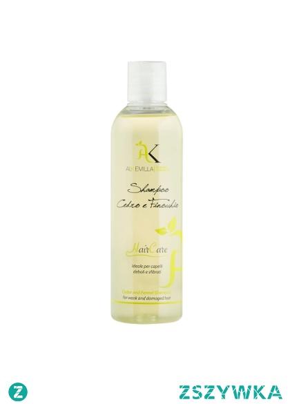 Wzmacniający szampon do włosów słabych i zniszczonych 250ml - Alkemilla  Naturalny wzmacniający szampon do włosów z cedrem i koprem stworzony specjalnie do pielęgnacji włosów słabych, zniszczonych, łamliwych i z rozdwojonymi końcówkami. Zawarte w szamponie minerały, flawonoidy i witaminy mają działanie wzmacniające i antyoksydacyjne oraz dbają o to aby włosy stały się mocniejsze i odpowiednio odżywione.
