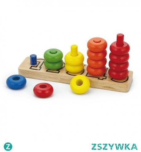 Drewniana zabawka edukacyjna, dzięki której dziecko zrobi pierwsze kroki w nauce liczenia. Na drewnianej podstawie znajdują się słupki opisane liczbami, na które należy nałożyć obręcze w odpowiednim kolorze i ilości.