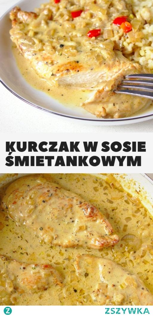 Kurczak w sosie śmietanowym z karmelizowaną cebulką i octem balsamicznym. Szybki obiad!