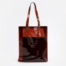 Transparentna torba shopper - Brązowy