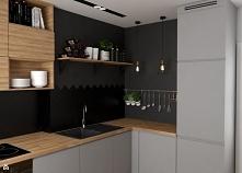 Szara kuchnia z drewnianym ...