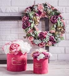Flower box Wianek ze sztucznych kwiatów Kompozycje kwiatowe w zamszowych pude...