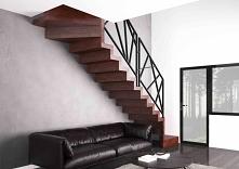Nowoczesne schody wewnętrzne jednobiegowe ze skrętem i platformą postojową na...