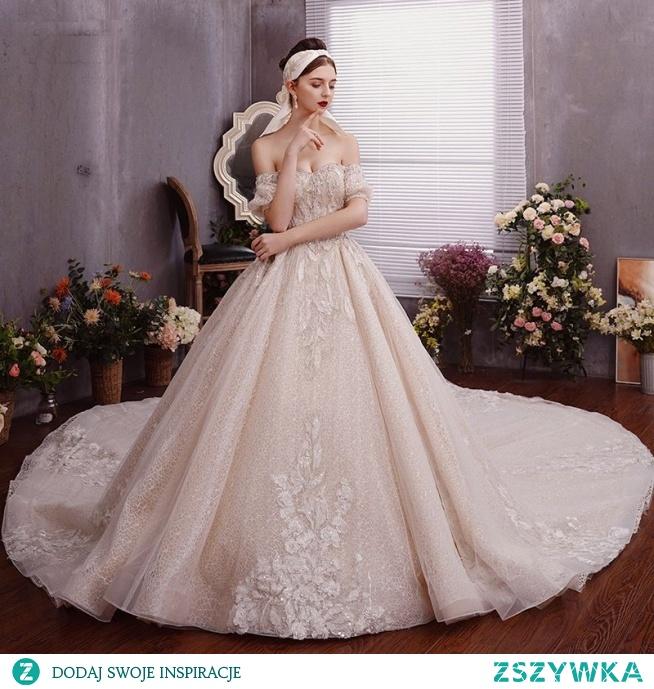 Uroczy Szampan Suknie Ślubne 2019 Princessa Przy Ramieniu Frezowanie Kryształ Cekiny Perła Bez Rękawów Bez Pleców Trenem Królewski