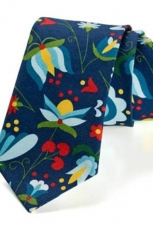 Krawat męski KASZUB ww wzór kaszubski niebieski