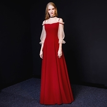 1867a911fd Piękne Burgund Sukienki Wieczorowe 2019 Princessa Spaghetti Pasy 3 4 Rękawy  B..