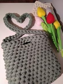 szydełkowa torebka, sznurek bawełniany