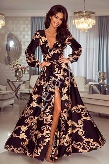 Długa czarna zwiewna sukien...