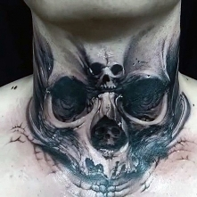 3d skull tattoo on neck