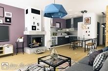 Mazurek II to projekt niedużego, nowoczesnego i wygodnego domu jednorodzinnego. Projekt został wykonany ze szczególnym uwzględnieniem walorów ekonomicznych... Widok salonu z kuc...