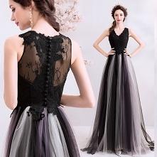 Piękne Czarne Sukienki Wieczorowe 2019 Princessa V-Szyja Z Koronki Kwiat Guzi...