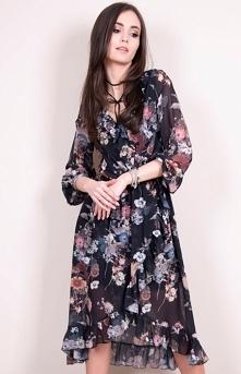Zwiewna sukienka w ciemny print Roco 0243