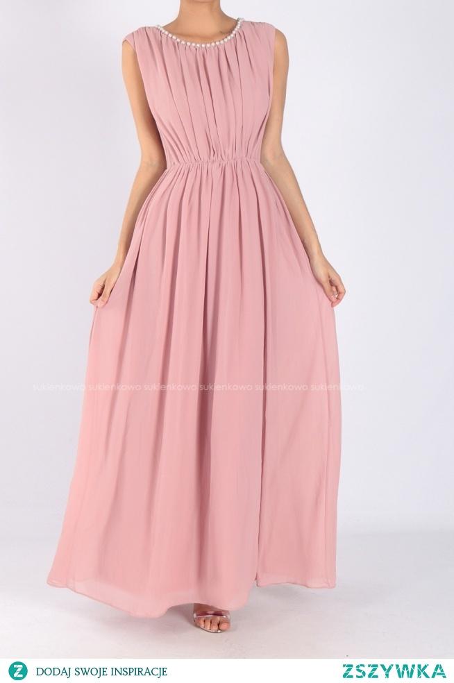 LAORA - Długa sukienka z perłami różowa Kliknij w zdjęcie by przejść do produktu sukienkowo.com