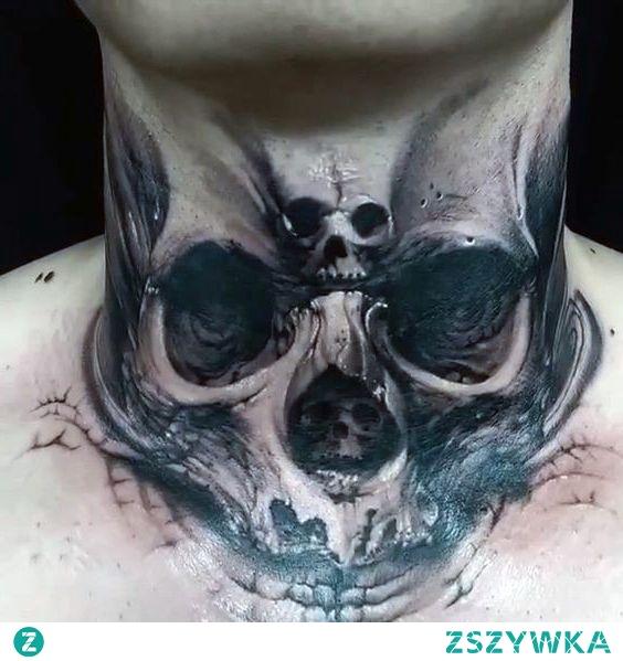 3d skull tattoo on neck
