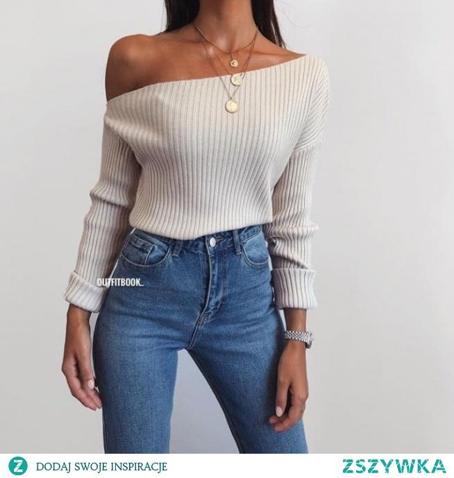 Wiosenna stylówka ze swetrem odsłaniającym ramiona