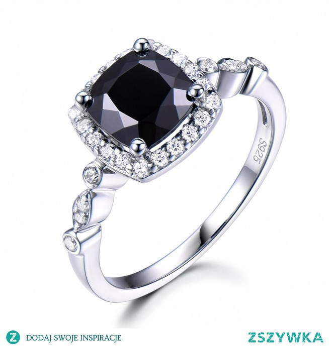 Cushion Black Spinel Engagement ring