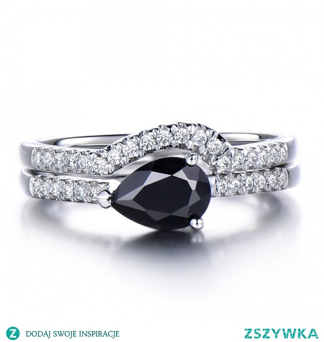 Pear cut Black Spinel Engagement ring set