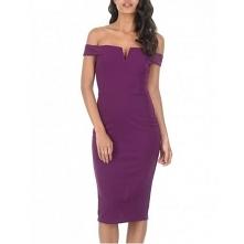 Fioletowa sukienka midi na ...