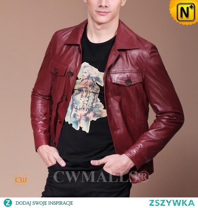 Haute Couture | Men Red Leather Biker Shirt CW807333 | CWMALLS.COM