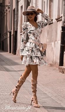 Biała sukienka w kwiaty z k...