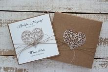 Rustykalna kartka na ślub w pudełku ślubna