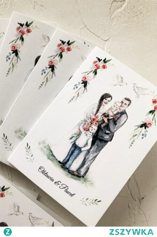 Zaproszenie ślubne Portret 80 sztuk