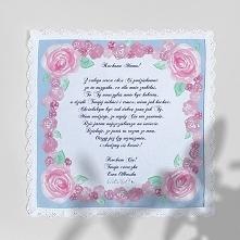 """""""Malowane róże"""" - chusteczka z podziękowaniem dla mamy lub świadkowej"""