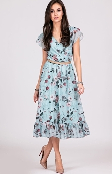 Elegancka sukienka midi w k...