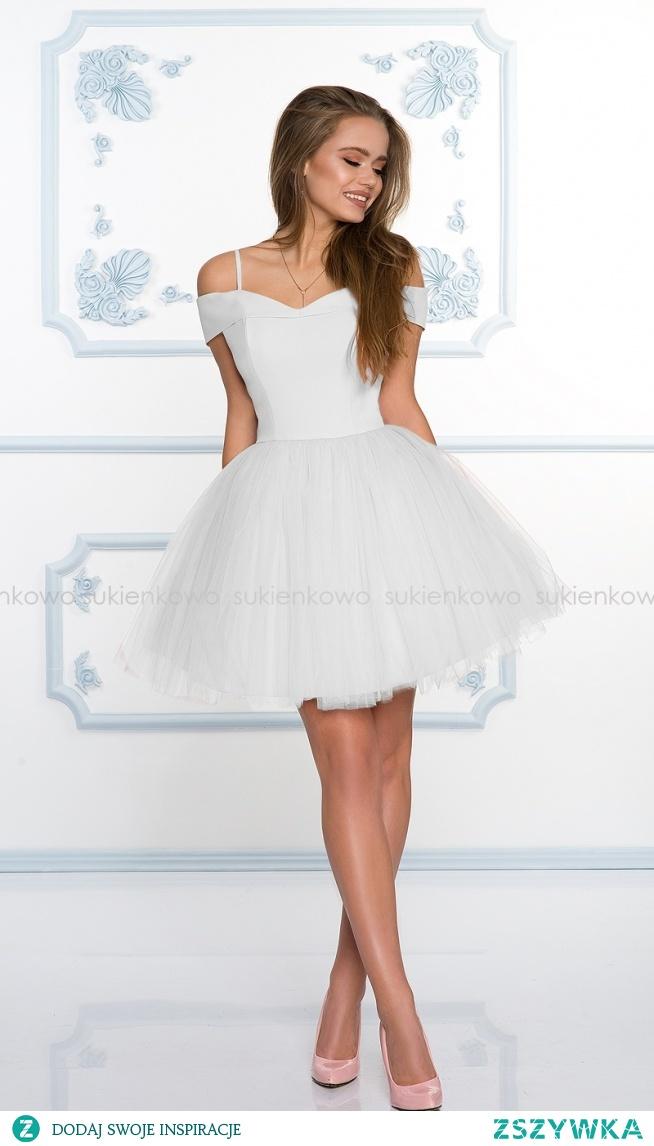 Kliknij w zdjęcie by przejsć do produktu sukienkowo.com SCARLET - Rozkloszowana sukienka bez ramion z tiulem ecru