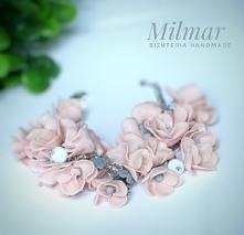 Bransoletka z modeliny fimo,delikatne różowe kwiaty.Ręcznie stworzone☺
