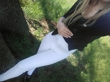 Spodnie białe wysoki stan