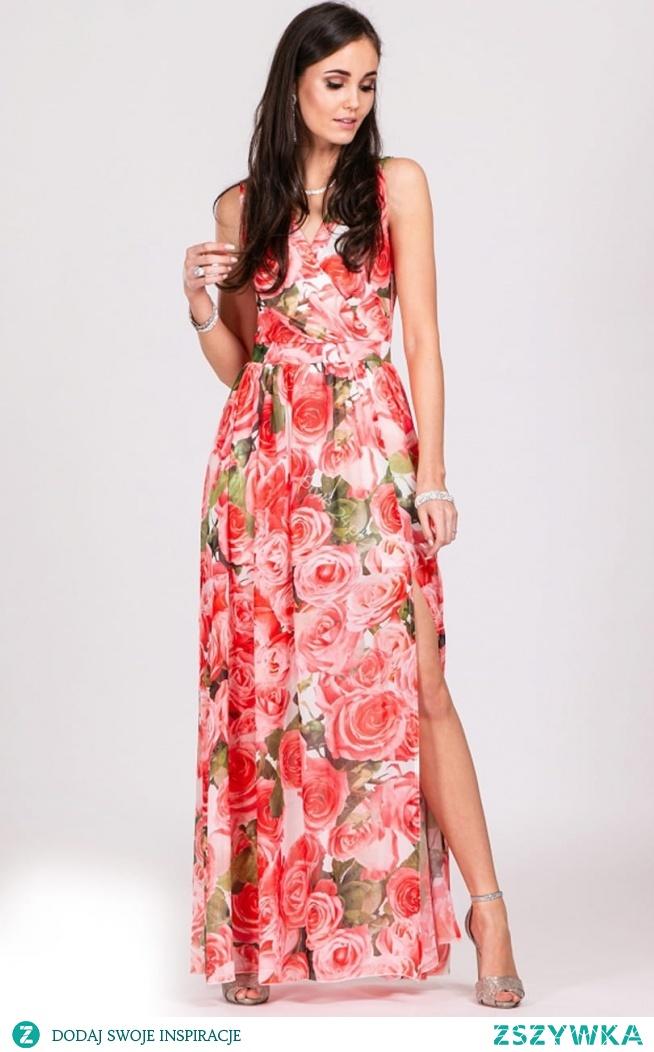 Przepiękna długa sukienka w kwiaty Roco Fashion