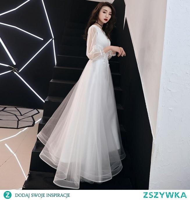 Eleganckie Białe Sukienki Wieczorowe 2019 Princessa V-Szyja Cekiny Z Koronki Kwiat 3/4 Rękawy Długie Sukienki Wizytowe